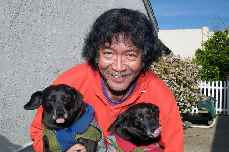 Photo of Papa, Bixby and Lucky. Bixby is on the left.