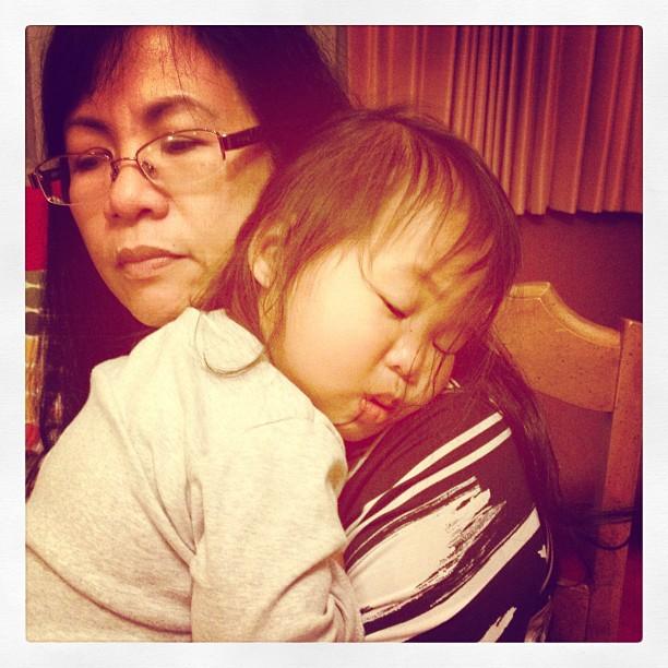 Mia Sleeping on Auntie