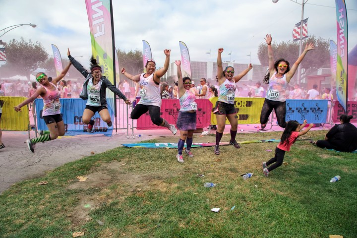 Celebrating after the run!